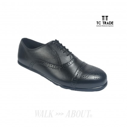 WALK ABOUT® Lace-up Flexible Shoes with Genuine Soft Cow Leather (906 9888 Black 18)