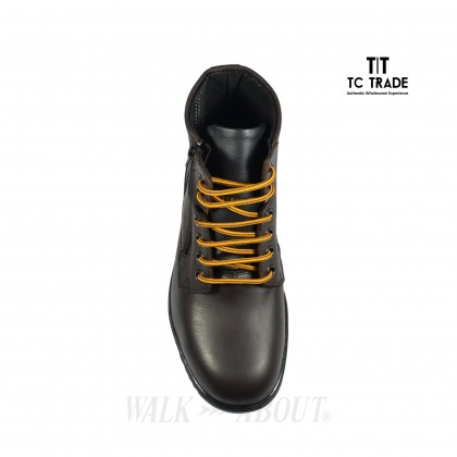WALK ABOUT® Men Lace-up Safety ankle boots with Zip and Buffalo leather (6917 Brown 031 SB P HRO)