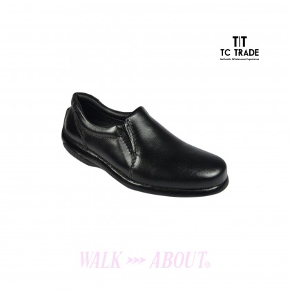 WALK ABOUT® Ladies Slip-on Shoes with Genuine Soft Cow Leather (1906 Black 18)