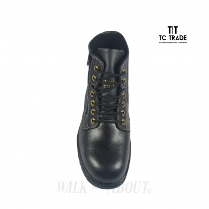 WALK ABOUT® Lace-up Safety ankle boots with Zip and Buffalo leather (6917 Black 03 SB P HRO)